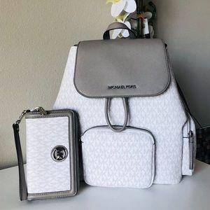 Michael kors Large abbey Backpack & Wallet set NWT